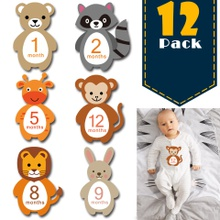 12-pack Reusable Animal Design Baby Monthly Milestone Stickers