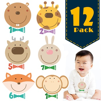 12-pack Reusable Animal Photo Baby Animal Monthly Milestone Stickers