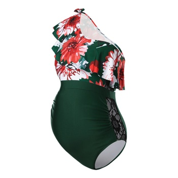 Maternity 1pcs Floral full print Dark Green one piece