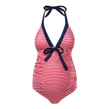 Maternity 1pcs Stripes Plain Dark Pink one piece