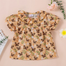 1pc Baby Girl Short-sleeve Cotton  casual Animal Shirt & Smock