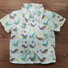 1pc Baby Boy Short-sleeve Cotton casual Animal & Whale Shirt & Smock
