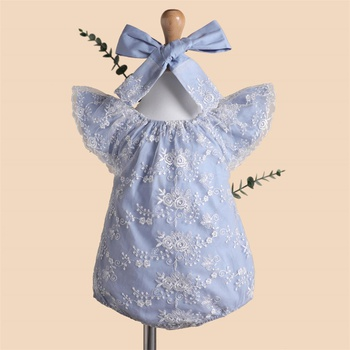 Baby Lace Decor Flutter-sleeve Bodysuit with Headband Set