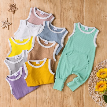 Baby Solid Pocket Sleeveless Jumpsuit