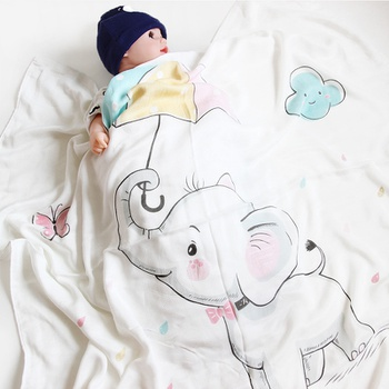 Baby Blanket Cotton Soft Elephant Print Double-layer Breathable Newborn Blanket Bedding Covers