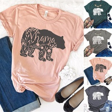 Casual Short-sleeve Mama Bear Printed Tee For women