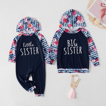 Mosaic Letter and Floral Stripe Siblings Matching Hoodie Sets
