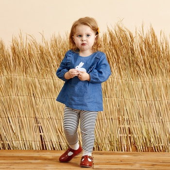 Baby Denim Ruffled Rabbit Print Top and Striped Pants Set