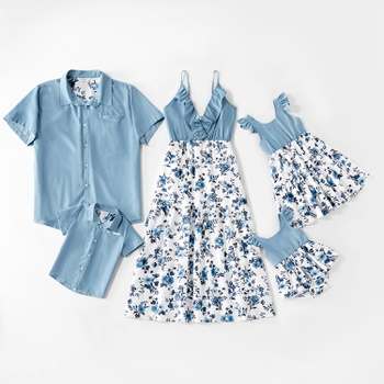 Mosaic 100% Cotton Family Matching Sets(Floral Flounce Tank Dresses - Denim Tops - Rompers -Masks)