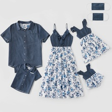 Mosaic Floral Print Stitching Family Matching Navy Blue Sets