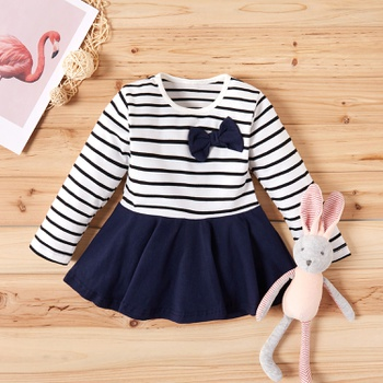 Baby / Toddler Bowknot Decor Long-sleeve Striped Dress
