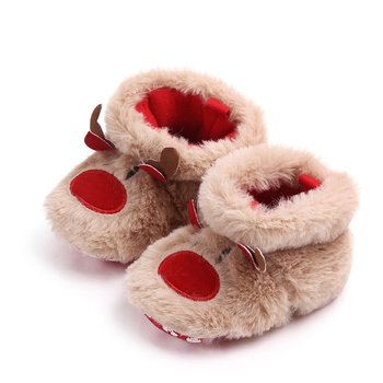 Baby / Toddler Animal Elk Embroidered Fluff Christmas Prewalker Shoes