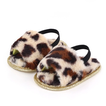 Baby / Toddler Leopard Pattern Glittery Fluff Prewalker Shoes