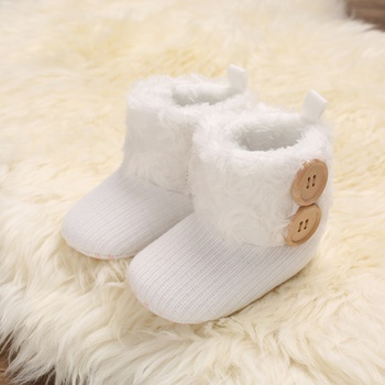Baby / Toddler Girl Solid Button Fluff Knitted Casual Prewalker Shoes