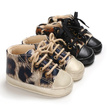 Baby / Toddler Leopard Print Lace-up Fleece-lining Vintage Casual Prewalker Shoes