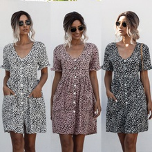 Casual V Neck Short-sleeve Dots Ruffle Dress