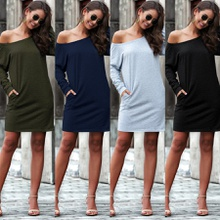 Skew collar Sloping shoulder H short dress
