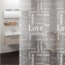 Letters&Leaves Pattern Design Mildew Resistant Shower Curtain with Hooks