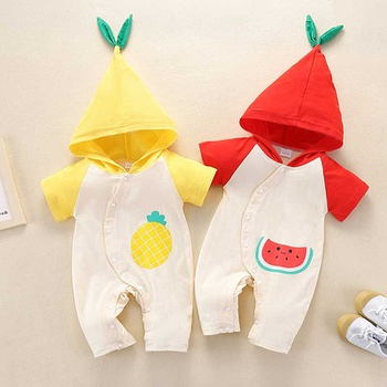 Baby Hooded Short-sleeve Casual Fruit Rompers
