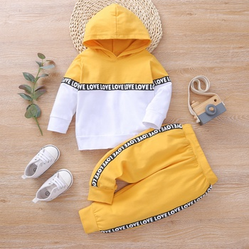 2pcs Baby Long-sleeve Cotton Hooded Unisex Sports Letter Baby's Sets