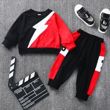 2-piece Baby / Toddler Colorblock Long-sleeve Top and Striped Pants Set
