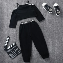 2-piece Baby / Toddler Girl Letter Off Shoulder Solid Top and Ankle-length Pants Set