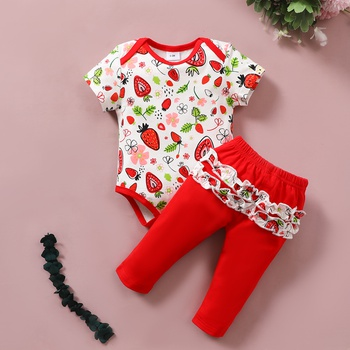 2pcs Baby Girl Sweet Strawberry Short-sleeve Cotton Romper Baby's Sets