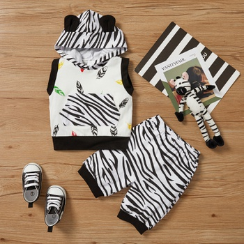 2pcs Baby Boy Sports Feather Hooded Baby's Sets