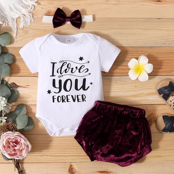 3pcs Short-sleeve Letter Print Polyester&Cotton Baby's Sets