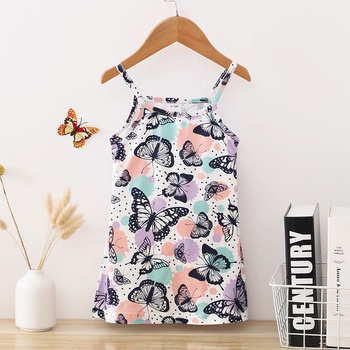 1pcs Baby Girl Sleeveless Animal Butterfly Print Color contrast Dress