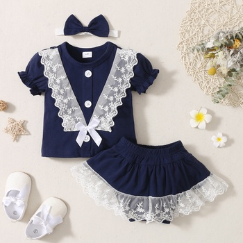 3pcs Baby Girl Solid Lace Short-sleeve Cotton Top Cute Shorts Sets