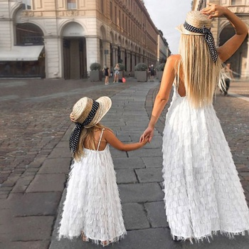 Fluffy Matching Long Dresses for Mommy and Me