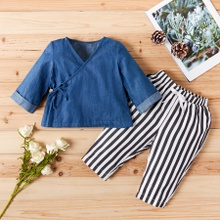 Baby / Toddler Stylish Denim Top and Striped Pants Set