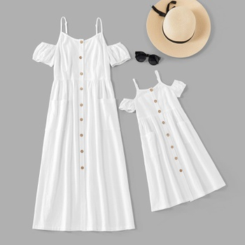 Mommy and Me Solid Pocket Tank Dresses