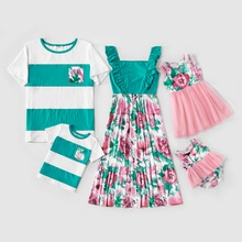 Mosaic Floral Print Color Block Family Matching Sets