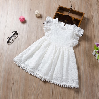 Baby / Toddler Lace Hollow Out Pompon Decor Dress