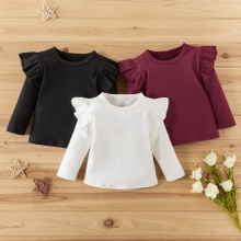 Baby / Toddler Girl Stylish Flutter-sleeve Solid Long-sleeve Tee