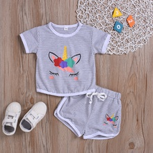 Unicorn Print Short-sleeve Top and Tie-up Shorts Set