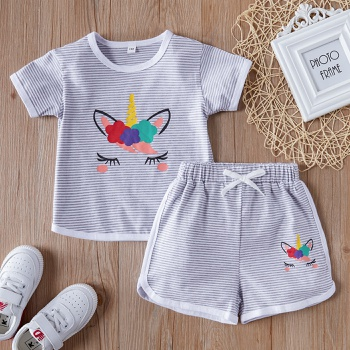 2-piece Baby / Toddler Girl Unicorn Striped Tee and Shorts Set