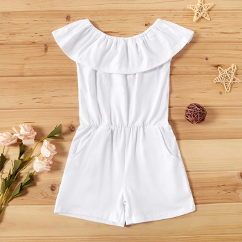 Baby / Toddler Girl Casual Solid Flounced Collar Jumpsuit