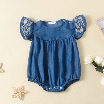 Baby Embroidered Denim Flutter-sleeve Rompers