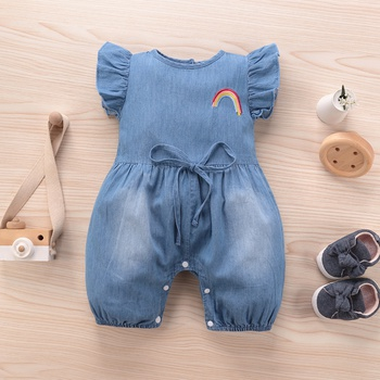 Baby Denim Rainbow Embroidered Flutter-sleeve Bodysuit