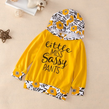 Baby / Toddler Letter Floral Print Hoodie