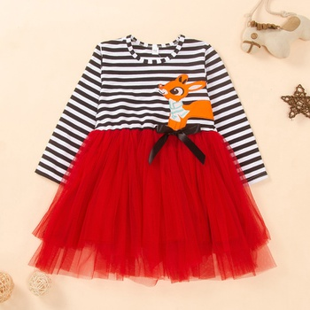 Baby / Toddler Christmas Splice Long-sleeve Dress