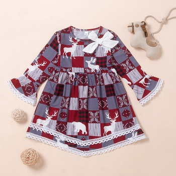 Baby / Toddler Christmas Lace Decor Long-sleeve Dress