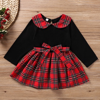 Baby / Toddler Christmas Bowknot Plaid Long-sleeve Dress