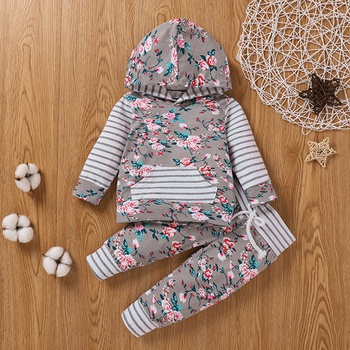 2pcs Baby Girl Sweet Floral Baby's Sets Knitted Hooded Long Sleeve Infant Clothing Outfits