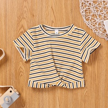 Baby Girl casual Stripes Tee Short Sleeve T-Shirt children cotton tees