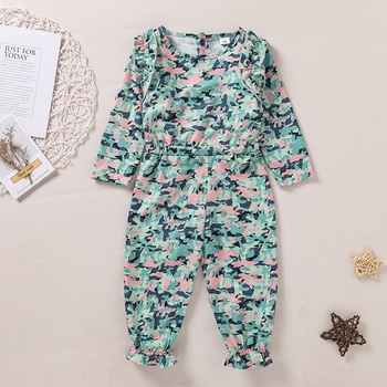 Baby / Toddler Camouflage Print Ruffled Jumpsuit