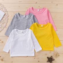 Baby Girl casual Tee Solid Long-sleeve Infant Clothing Outfits
